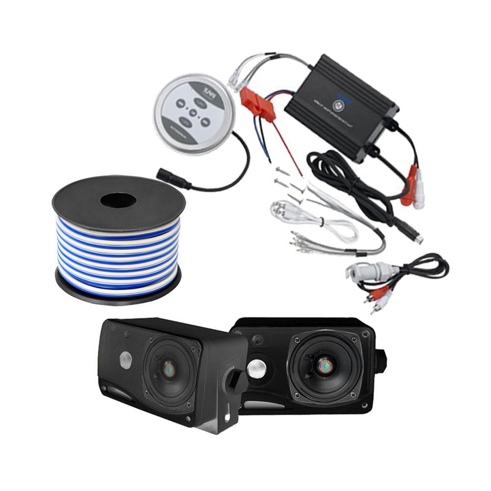 new pyle kthsp410 600w marine sound system w bluetooth amp 3 5 3 way speaker. Black Bedroom Furniture Sets. Home Design Ideas