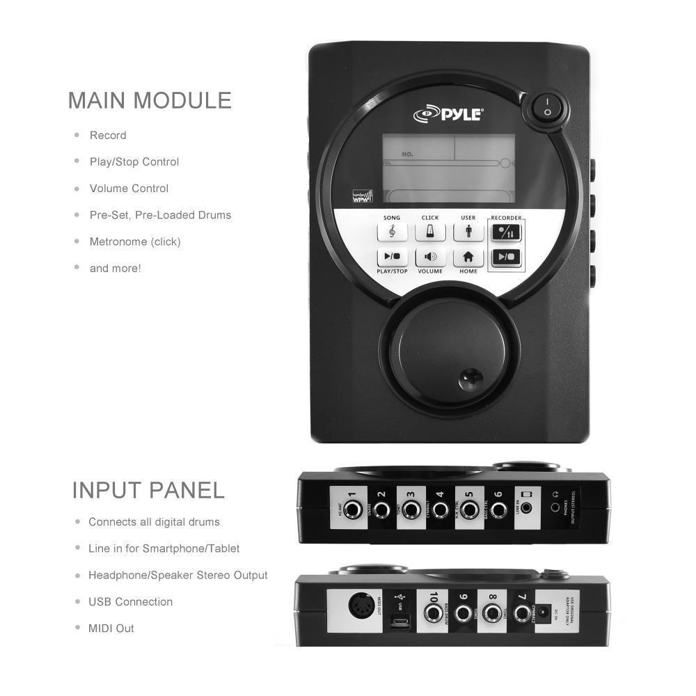 pyle ped021m digital drum set electronic drum machine system 7 piece drum kit ebay. Black Bedroom Furniture Sets. Home Design Ideas