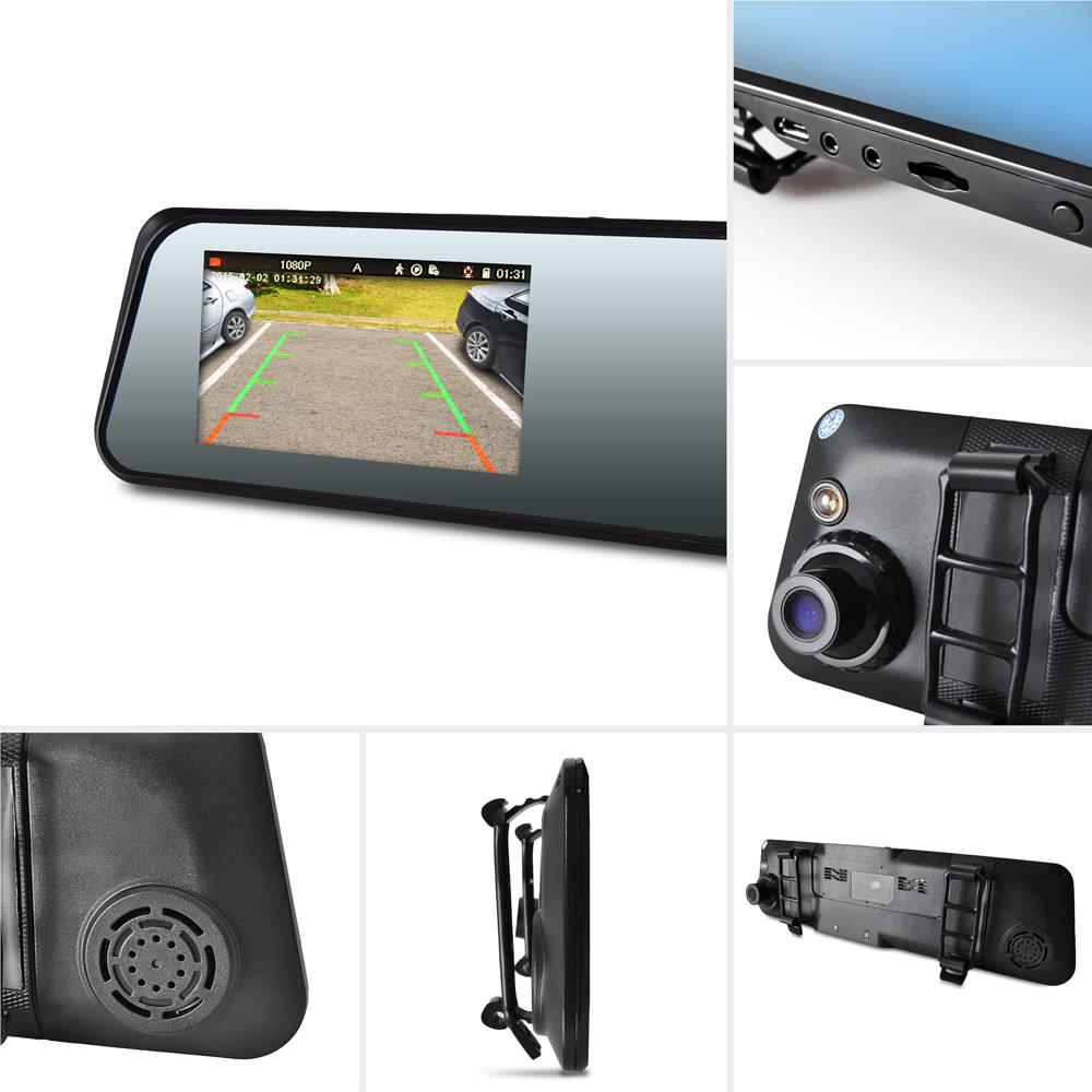 New pyle plcmdvr42 hd rearview mirror monitor dual camera for Mirror 2008 dual audio