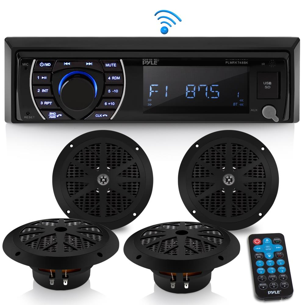 Bluetooth Marine Receiver Stereo AM/FM Radio (4) 6.5\'\' Waterproof ...