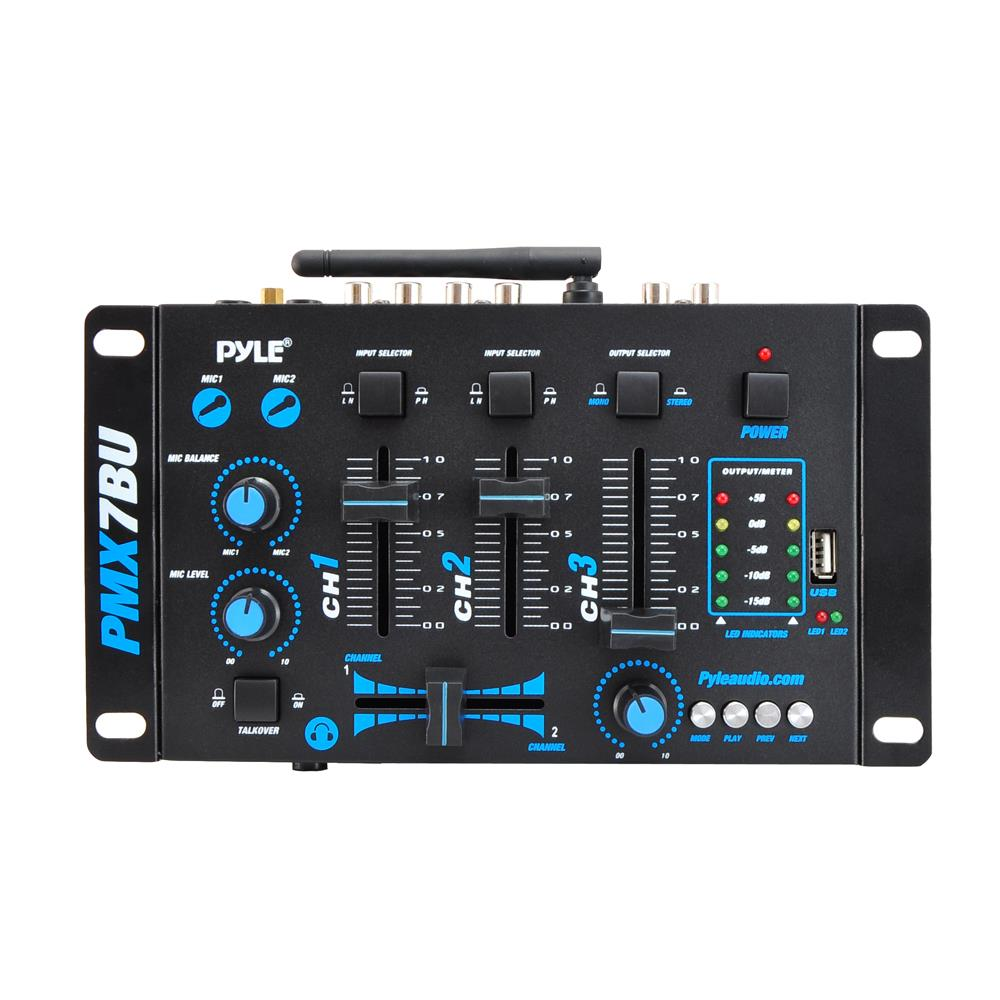 new pyle pmx7bu bluetooth 3 channel dj mp3 mixer rca usb mic headphone input 696231570193 ebay. Black Bedroom Furniture Sets. Home Design Ideas