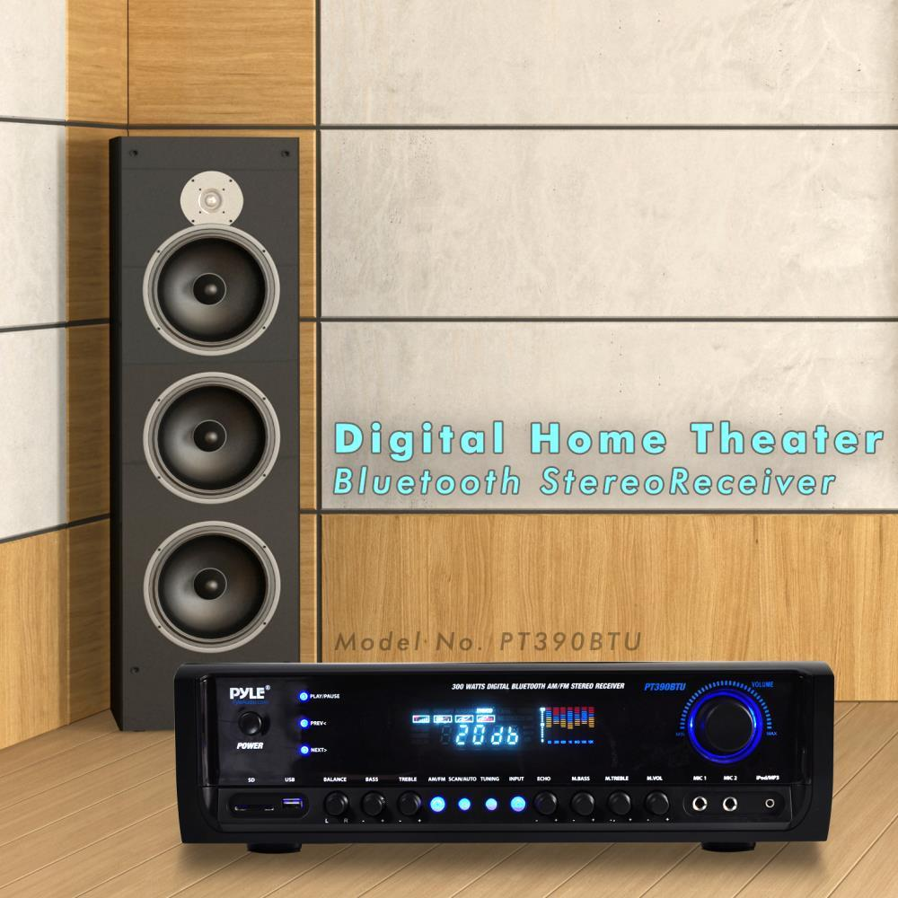 new pyle pt390btu 300w digital bluetooth receiver aux mp3. Black Bedroom Furniture Sets. Home Design Ideas