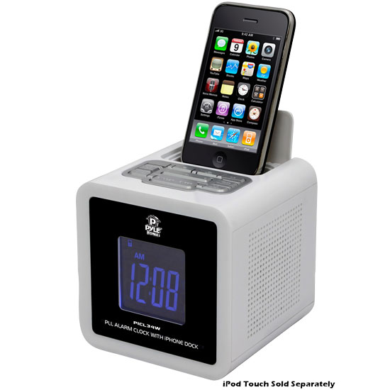 iPod iPhone Clock Radio W/ FM Receiver And Dual Alarm Clock (White)