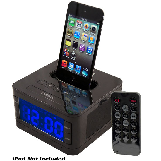 Radio Alarm Clock Speaker SystemFor iPod (Black Color)