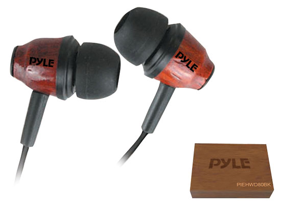 Wood-Bud Wooden In-Ear Ear-Buds Stereo Ultra Bass Headphones (Dark Mahogany)
