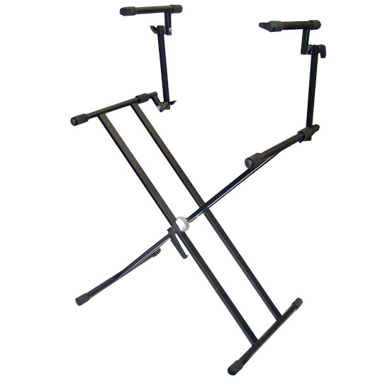 Two Tier Double X Braced Heavy-Duty DJ Coffin / Keyboard Stand