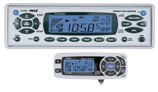 AM/FM-MPX In-Dash Marine CD/MP3 Player w/Full Face Detachable Panel with Wired Remote