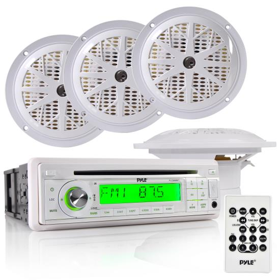 Waterproof Marine AM/FM/CD Player Receiver W/ 4 X 5.25'' Speakers & Splash Proof Radio Cover (White)