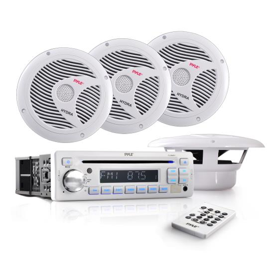 Complete Marine Water Proof 4 Speaker CD/USB/Mp3/Combo w/ Stereo Cover (White)