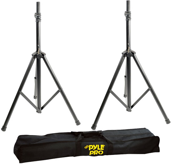 Heavy-Duty Aluminum Anodizing Dual Speaker Stand with Traveling Bag Kit
