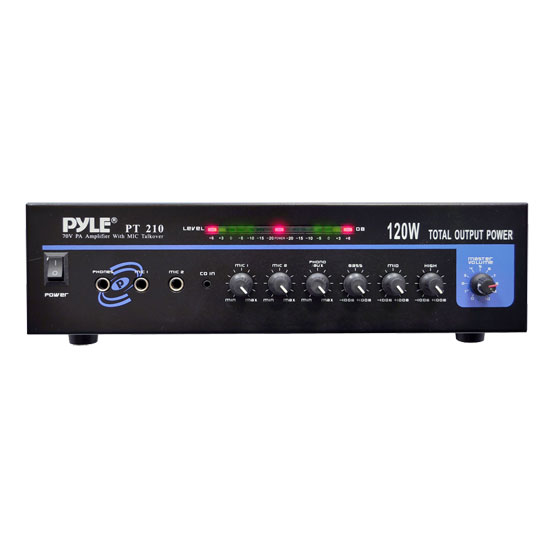 120 WATT MICROPHONE PA Mono Amplifier w/70V Output & Mic Talkover