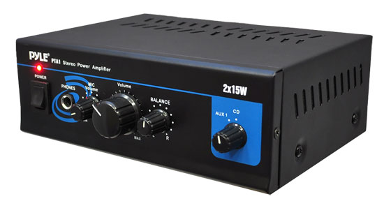 Pylehome Mini 2 X 15 Watt Stereo Power Amplifier with AUX, CD & Mic Inputs