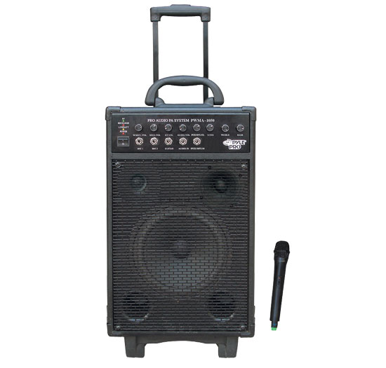 800 Watt VHF Wireless Battery Powered Pa System W/Echo/Ipod/MP3 Input Jack