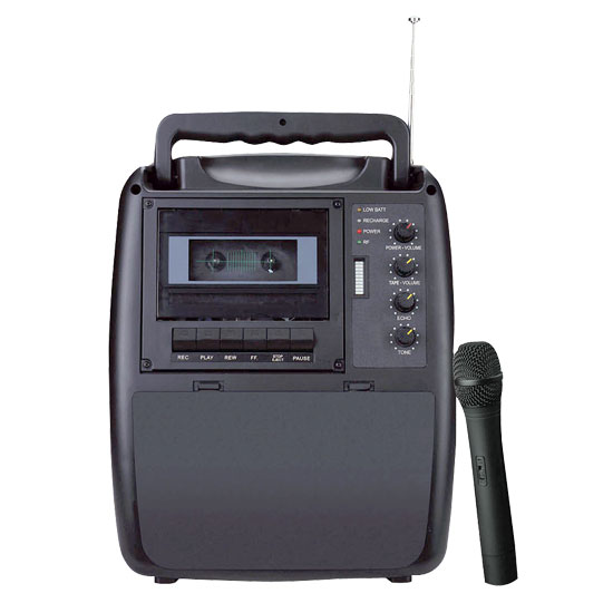 Rechargeable Portable PA System  w/Wireless Mic & Cassette Player
