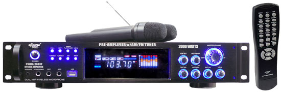 2000 Watts Hybrid Pre-Amplifier W/AM-FM Tuner/USB/Dual Wireless Mic